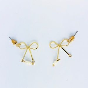 New! Gold Bow Knot Faux Pearl Dangle Earrings